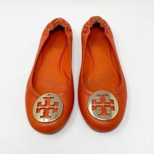 TORY BURCH Reva Ballerina Flat 8.5 Orange Leather